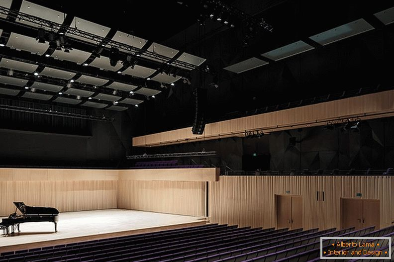 El interior de la sala de conciertos del Kilden Center for the Performing Arts