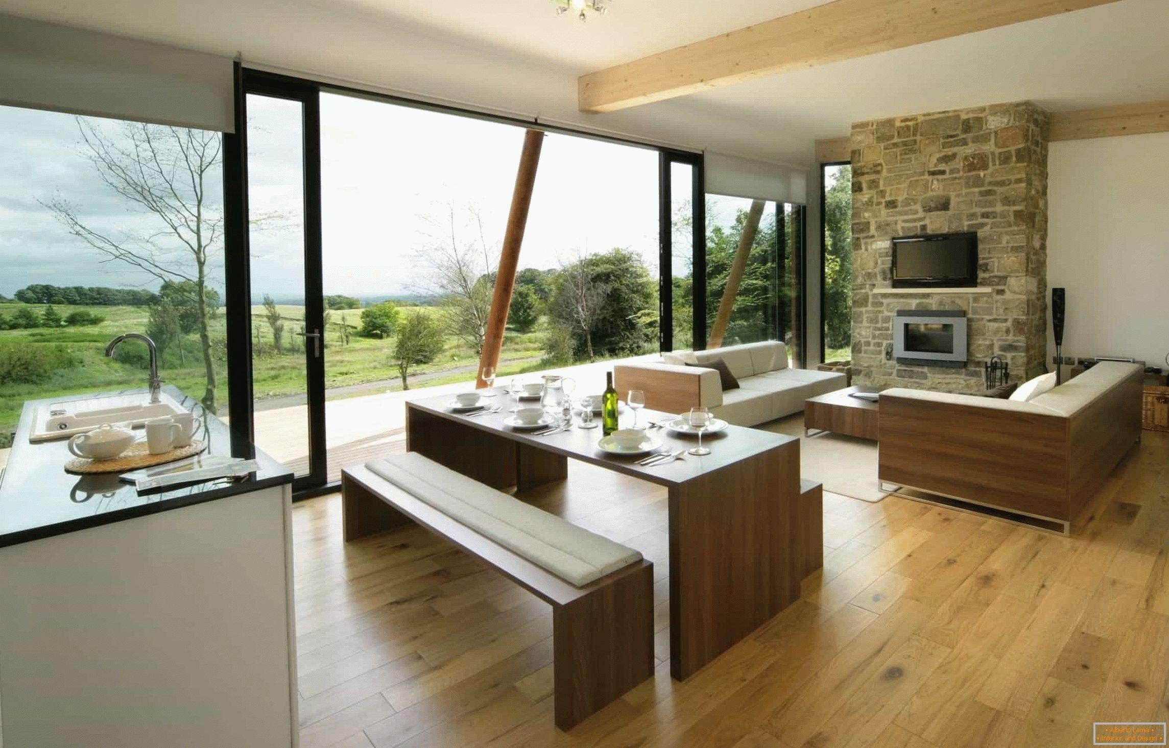 Diseño de cocina-comedor-sala de estar: 25 fotos en una casa