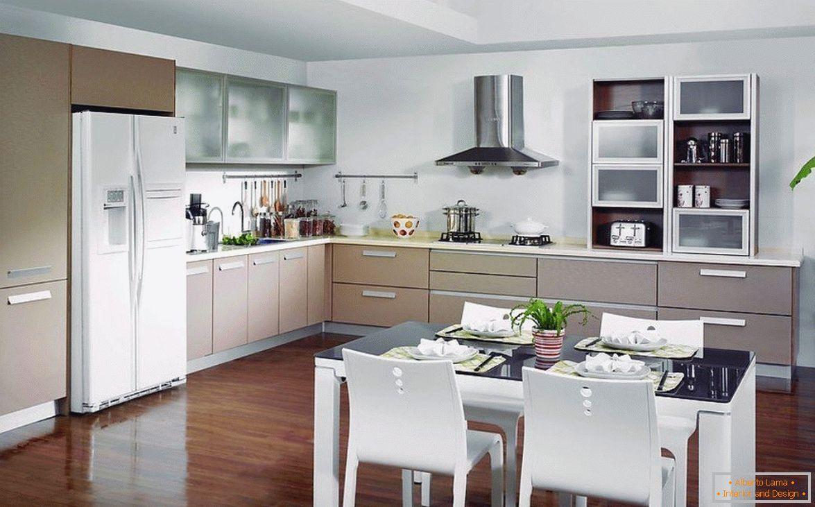 Diseño de cocina-comedor-sala de estar en una casa privada