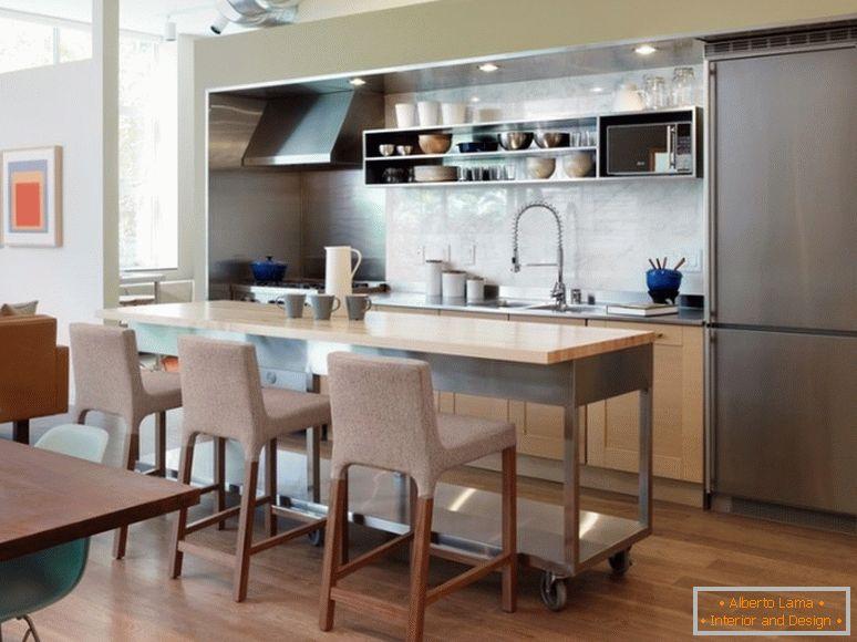 Ideas para colocar una mesa isla en una peque a cocina de - Islas de cocina moviles ...