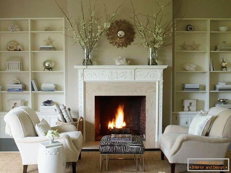 diseño de sala de estar de chimenea de esquina Interior De La Sala De Estar Con Chimenea En La Casa