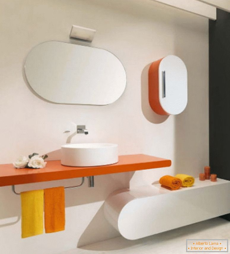 beauty-white-concept-home-interior-design-for-contemporary-with-orange-floating-rack-has-a-porcelain-vessel-sink-and-towel-rack-plus-oval-wall-mirror-frameless- con-nuevos-baños-ideas-y-lujo-ba