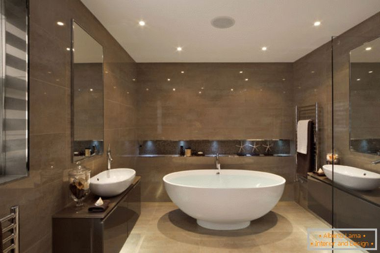 modern-diseño interior de baño-with-rounded-white-ceramic-stand-alone-bathtub-combined-with-dark-brown-glossy-melamine-floating-vanity-as-well-as-small-bathroom-remodel-and-bathroom-renovation-1138x7