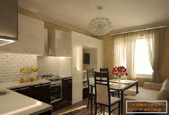 La cocina-sala de estar de 20 sq. m: el diseño del espacio