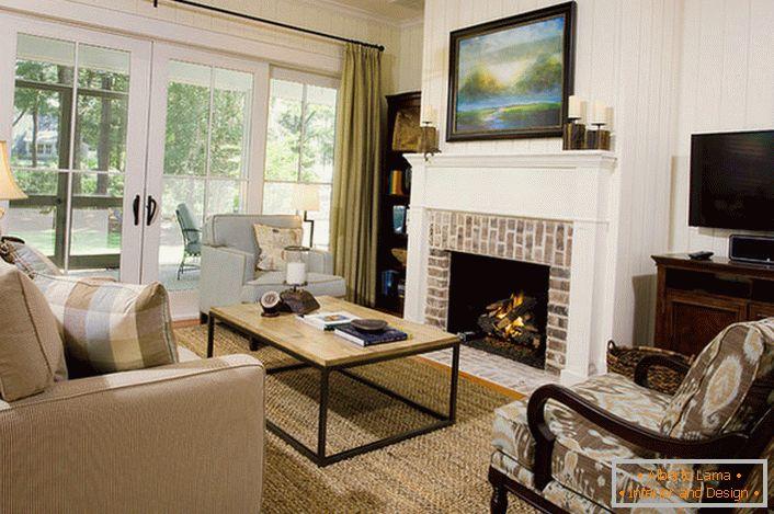 Chimenea moderna en el interior de la sala de estar 58 for Desarrollar una gran sala de estar